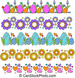 fleurs, oeufs, frontières, cœurs, vecteur