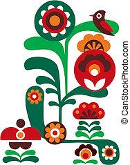 fleurs, oiseau, coloré, résumé