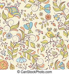 fleurs, oiseau, modèle, résumé