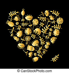 fleurs or, conception, ton, coeur