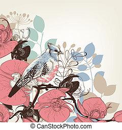 fleurs, orchidée, retro, fond, oiseau