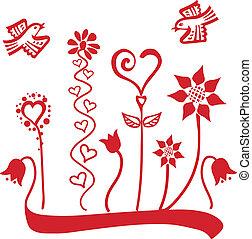 fleurs, ornement, oiseaux, &