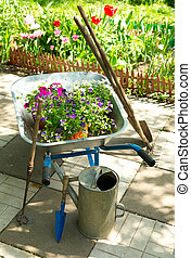 fleurs, outils, jardin, brouette