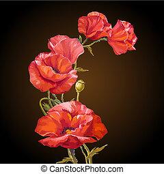 fleurs, painting., carte, huile, coquelicots
