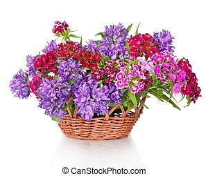 fleurs, panier, isolé, bouquet, beau, blanc