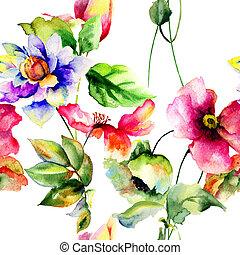 fleurs, papier peint, seamless, printemps