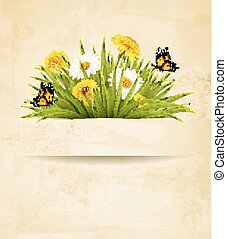 fleurs, papier, vieux, herbe, arrière-plan.