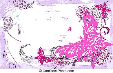 fleurs, papillons, vecteur, horizontal, carte