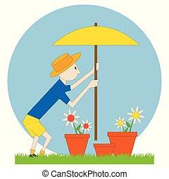 fleurs, parasol, jardinier, homme