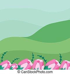 fleurs, paysage, nature