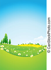 fleurs, paysage, vert