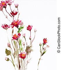 fleurs, peinture
