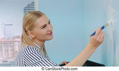 fleurs, peinture, wall., girl, gros plan, coup