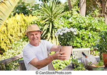 fleurs, personne agee, sien, jardin, homme