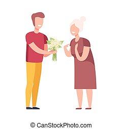 fleurs, plat, bouquet, jeune, donner, illustration homme, personnes agées, vecteur, femme