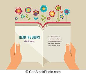 fleurs, plat, livre, ouvert, icônes