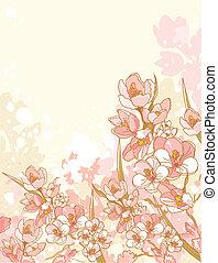 fleurs, printemps, conception