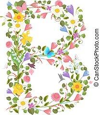 fleurs, printemps, orné, lettre, capital, police, consister