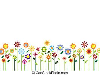 fleurs, printemps, vecteur