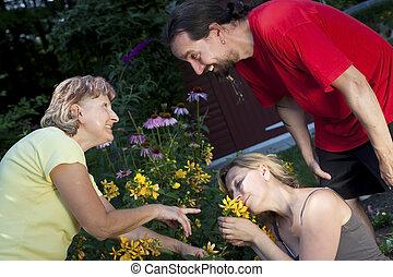 fleurs, projection, femme, couple, jardin