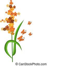 fleurs, résumé, papillons, coloré