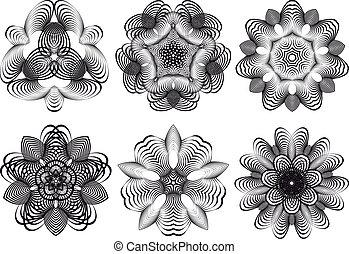 fleurs, résumé, vecteur, géométrique