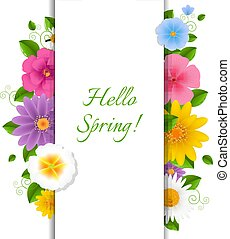 fleurs ressort, bonjour, carte