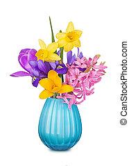 fleurs ressort, coloré, vase