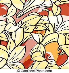 fleurs ressort, lis, seamless, fond