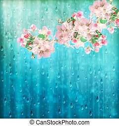 fleurs ressort, pluie, vecteur