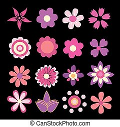 fleurs ressort, vecteur, coloré, illustration