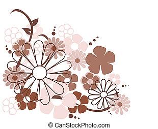fleurs ressort, vecteur, illustration