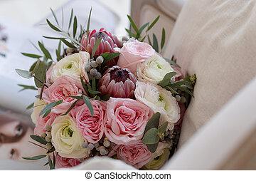fleurs, rose, noce blanche, exotique, bouquet, fond, invitations, arrière-plan.