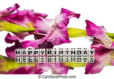 fleurs roses, anniversaire, heureux