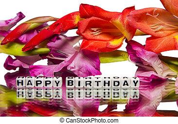 fleurs roses, anniversaire, rouges, heureux
