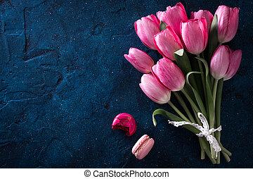 fleurs roses, espace, bouquet, macarons, tulipe, frais, copie, vue