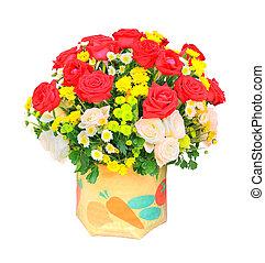 fleurs, roses, tulipe, isolé, fond, bouquet, seau, jaune rouge, décoration, usage, maison, blanc