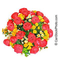 fleurs, roses, tulipe, isolé, vue, bouquet, fond, seau, jaune rouge, sommet, décoration, usage, maison, blanc