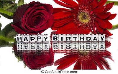 fleurs, rouges, anniversaire, heureux