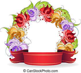 fleurs, ruban