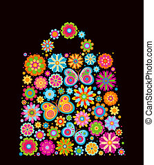 fleurs, sac, forme