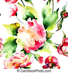 fleurs sauvages, seamless, papier peint, beau