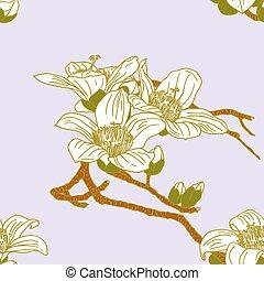 fleurs, seamless, papier peint, orchidée