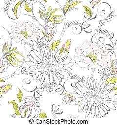 fleurs, seamless, papier peint, romantique