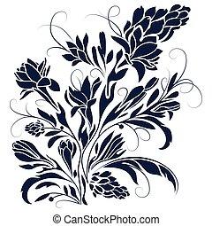 fleurs, silhouette, dessin