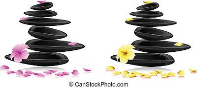 fleurs, spa, pierres