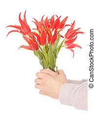 fleurs, tenant mains