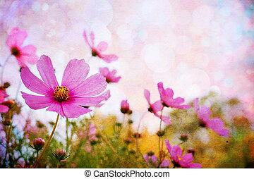 fleurs, texture, grunge