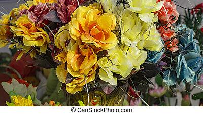 fleurs, tissu, artficial