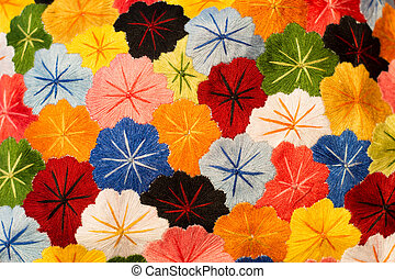 fleurs, tissu, textured